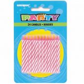 Spiral Birthday Pink Candles (pack quantity 24)