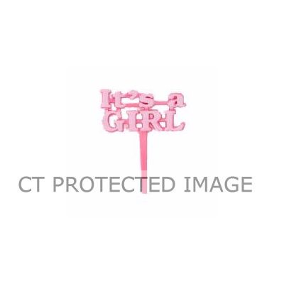 It's A Girl Pink Cake Picks (pack quantity 8)