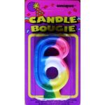Rainbow Numeral Candle Number6