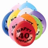  9 Inch Age 40 Balloons (pack&nbsp;quantity&nbsp;10) 