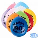  9 Inch Age 80 Balloons (pack&nbsp;quantity&nbsp;10) 