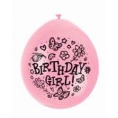 9 Inch Birthday Girl  Balloons (pack quantity 10)