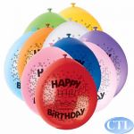 9 Inch Happy Birthday Balloons (pack quantity 10)