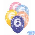  12 Inch Age 6 Superprint Balloons (pack&nbsp;quantity&nbsp;5) 