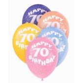  12 Inch Age 70 Superprint Balloons (pack&nbsp;quantity&nbsp;5) 