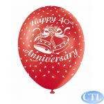  12 Inch 40th Anniversary Superprint Balloons (pack&nbsp;quantity&nbsp;5) 