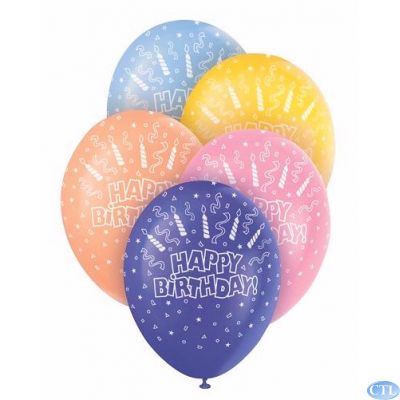 12 Inch Birthday Candles  Superprint Balloons (pack quantity 5)