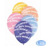  12 Inch Birthday Confetti Superprint  Balloons (pack&nbsp;quantity&nbsp;5) 
