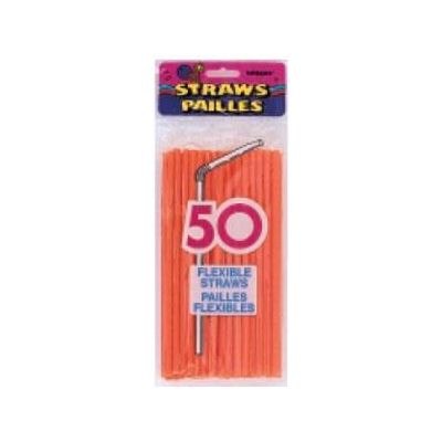 Pumpkin Orange Flex Straws (pack quantity 50)