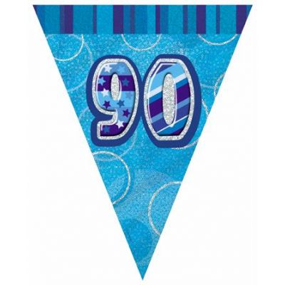 Blue Glitz 90th Flag Banner