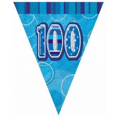 Blue Glitz 100th Flag Banner