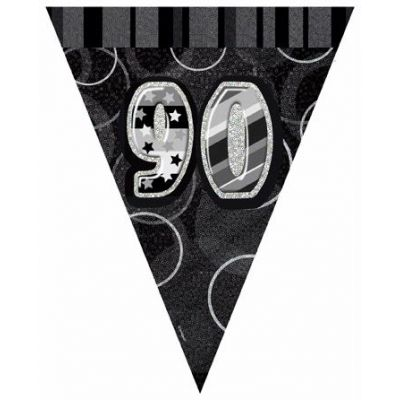Black Glitz 90th Flag Banner