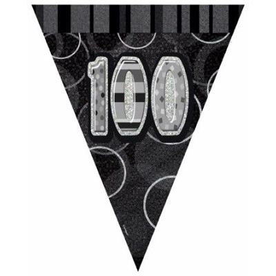Black Glitz 100th Flag Banner