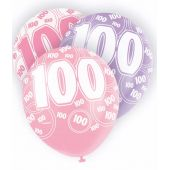  12 Inch Pink Glitz 100th Balloons (pack&nbsp;quantity&nbsp;6) 