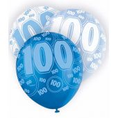  12 Inch Blue Glitz 100th Balloons (pack&nbsp;quantity&nbsp;6) 