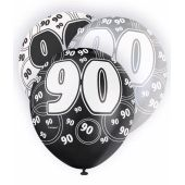 12 Inch Black Glitz 90th Balloons (pack quantity 6)