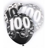  12 Inch Black Glitz 100th Balloons (pack&nbsp;quantity&nbsp;6) 