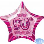 Pink Glitz 90th 18 Inch Foil Balloon