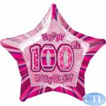 Pink Glitz 100th 18 Inch Foil Balloon