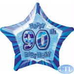 Blue Glitz 90th 18 Inch Foil Balloon