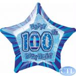 Blue Glitz 100th 18 Inch Foil Balloon