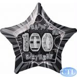 Black Glitz 100th 18 Inch Foil Balloon