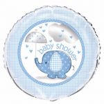 Blue Elephant Baby Shower 18 Inch Foil