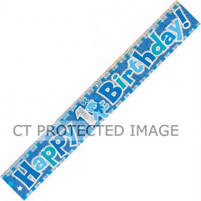 12ft 1st Birthday Blue Prismatic Banner