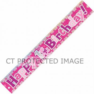 12ft 1st Birthday Pink Prismatic Banner