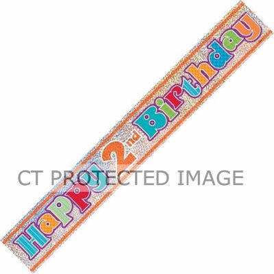 12ft 2nd Birthday Prismatic Banner
