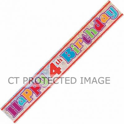 12ft 4th Birthday Prismatic Banner