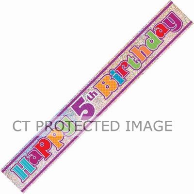 12ft 5th Birthday Prismatic Banner