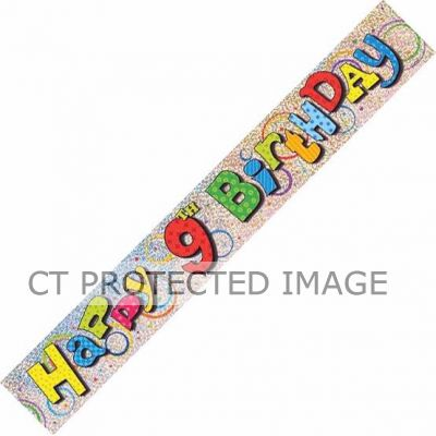12ft 9th Birthday Prismatic Banner