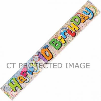 12ft 10th Birthday Prismatic Banner