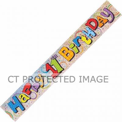 12ft 11th Birthday Prismatic Banner