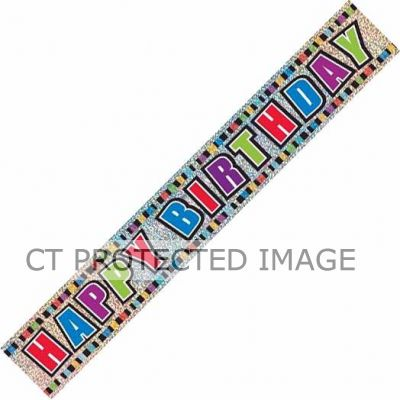 12ft Birthday Colours Prismatic Banner