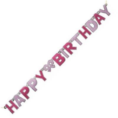 Glitz Happy Birthday Pink Jointed Banner