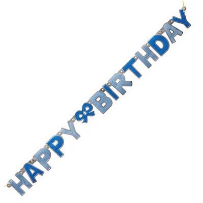Glitz Happy Birthday Blue Jointed Banner