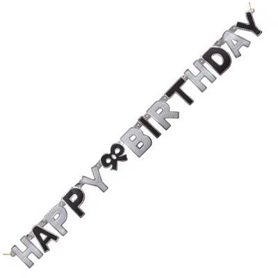 Glitz Happy Birthday Black Jointed Banner