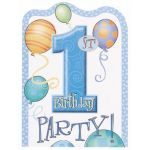 First Birthday Blue Invitations (pack quantity 8)