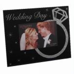 6x4 Inch Wedding Day Glass Photo Frame