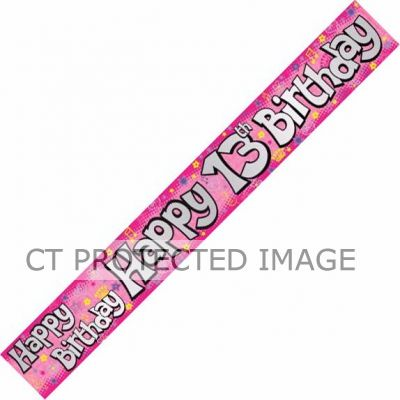 13th Birthday Girl Holographic 9ft Banner