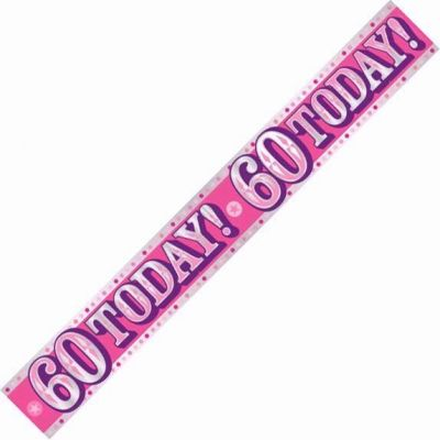 60th Birthday Female Holographic 9ft Banner