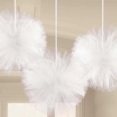 White Fluffy Tulle Decorations (pack quantity 3)