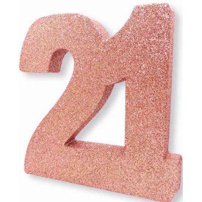 No. 21 Rose Gold Glitter Table Dec