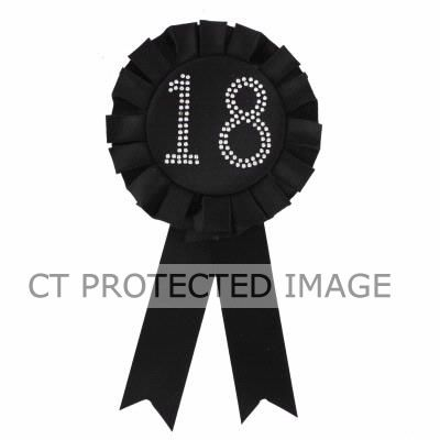 18th Birthday Black Rosette Badge