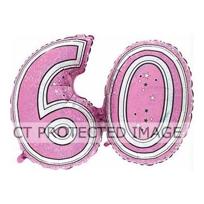 28 Inch 60th Pink Foil Balloon