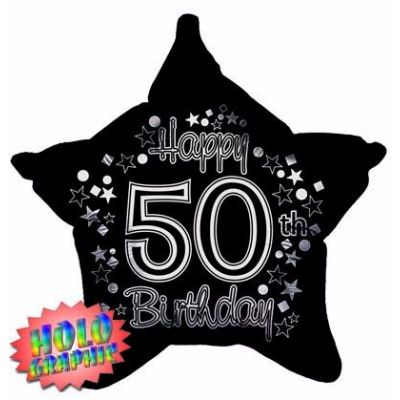 22 Inch 50th Holographic Black And Silver Foil Balloon