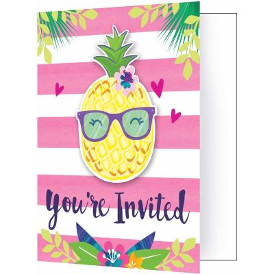 Pineapple N Friends Invitations (pack quantity 8)
