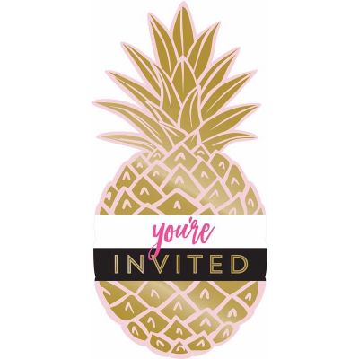 Golden Pineapple Postcard Invitations (pack quantity 8)